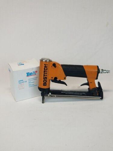 "Upholstery stapler, Used  Bostitch 21697B  3/16"" crown, 21 gauge, & 1bx staples"
