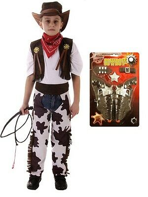 Boys Kids Cowboy Outfit Fancy Dress Costume Children X MAS Party Rodeo Wild - Kid Cowboy Costume
