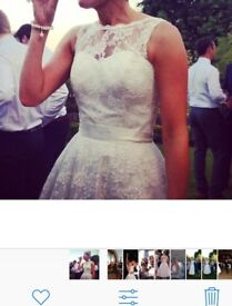 Tea length wedding dress, size 12. Vintage style with beautiful lace detail.