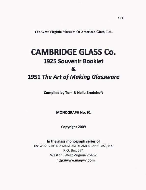 Cambridge Glass Co 1925 booklet & 1951 Art of Glassware
