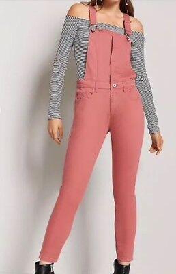 Forever 21 Denim Blush Pink Bib Jean Skinny Leg Snap Button Overalls 27 / M NEW (Bib Overalls Pink)