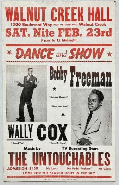 Bobby Freeman Concert Poster Boxing Style Walnut Creek 1963