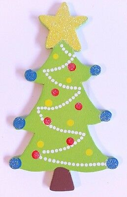 6 Wood Christmas Tree Cutouts with Glitter Package Topper Crafts Wreaths BX