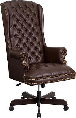 Lot Of 4 High Back Traditional Tufted Brown Leather Executive Office Chair