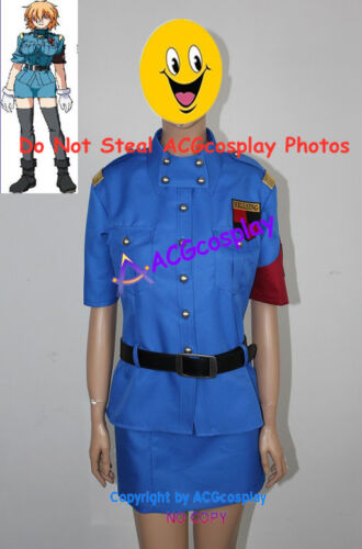 Hellsing Seras Victoria blue uniform cosplay costumes include white gloves