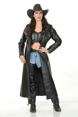 Duster Jacket Cowgirl Trench Coat Fancy Dress Halloween Adult Costume 2 COLORS