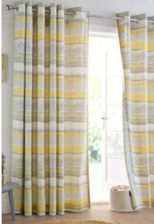 Next Ochre Print Textured Stripe Eyelet Curtains New 135cm X 137cm