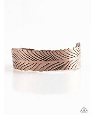 Textured Cuff Bangle - PAPARAZZI RUFFLE FEATHERS COPPER TEXTURED CUFF BRACELET
