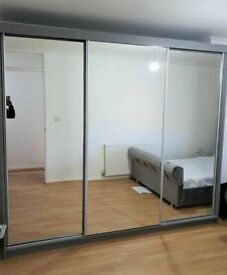 💥💯NEW FACTORY SALE ON 2/3 DOORS SLIDING WARDROBE WITH FULL MIRRORS ALL SHELVES & RAILS INCLUDED