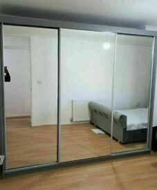 BRAND NEW MIAMI 2 DOOR SLIDING WARDROBE WITH MIRRORS AND GLOSS STRIP, LED OPTIONS
