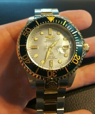 Invicta 22026 Men's Automatic Grand Diver Diamond Accented MOP Dial Two Tone