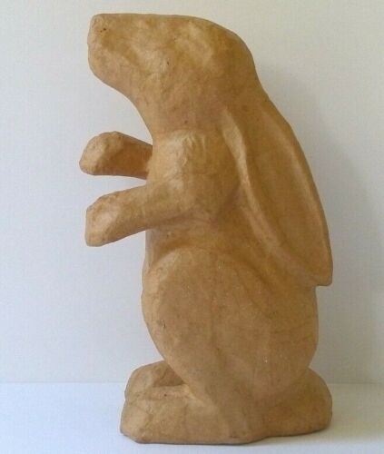 """Unfinished Brown Paper Mache Standing Bunny Rabbit 9"""""""