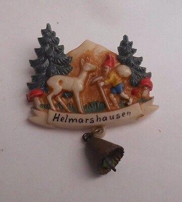 German Travel Souvenir Hat Pin Elf Deer Mushrooms Helmarshausen Oktoberfest