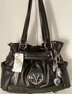 NWT Kathy Van Zeeland Handbag Purse Bag Heart You Belt Shopper Black