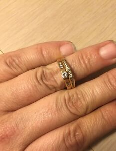 Wedding band and matching engagement ring