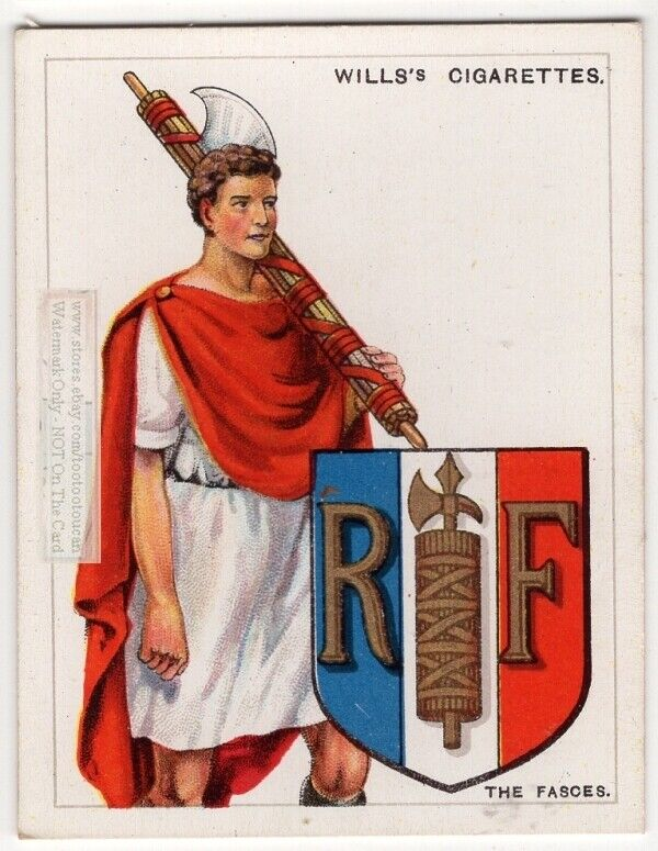 Fasces Axe and Rods Symbol Used On Coat Of Arms Or Family Crest 1920s Ad Card