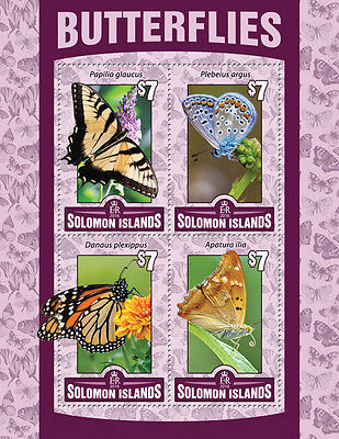 SOLOMON ISLANDS 2016 MNH BUTTERFLIES 4V M/S INSECTS BUTTERFLY STAMPS