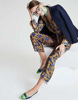 NWT J Crew COLLECTION Silk Twill Relaxed Pants in Sleepy Lions Print Sz 0 Blue