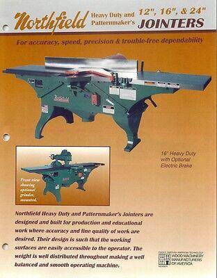 Northfield Heavy Duty Pm 12 16 24 Jointer Manual Parts List Pdf
