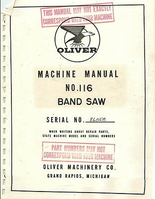 Oliver 116 Band Saw Manual Parts List Pdf