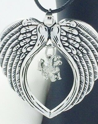 Lhasa Apso Dogs -  Lhasa Apso Adorable Dog Charm Angel Wings Memory Necklace
