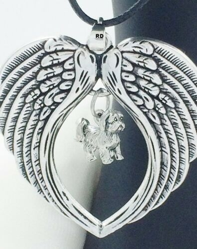 Lhasa Apso Adorable Dog Charm Angel Wings Memory Necklace