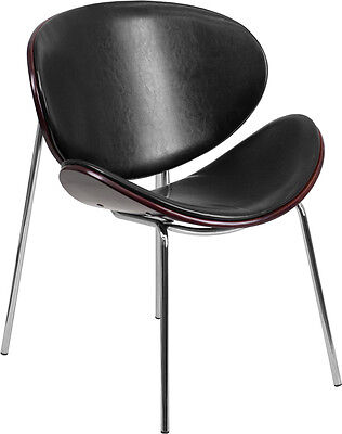Mahogany Bentwood Guest Reception Chair With Black Leather Upholstery
