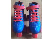 SFR Vision GT Quad Roller Boot Skates size 4 Blue and Red Fab Condition