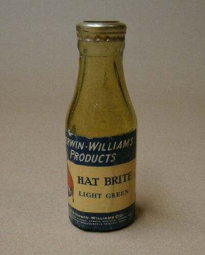 Vintage Sherwin Williams Cover The Earth SWP Hat Brite Dye Glass Bottle Antique