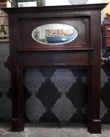 Stunning Vintage Wood Fireplace Fire Surround With Mirror - UK Delivery