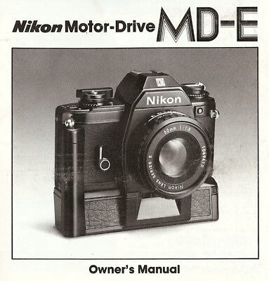 1970s NIKON MD-E MOTOR DRIVE INSTRUCTION MANUAL for NIKON EM SLR 35mm CAMERAS