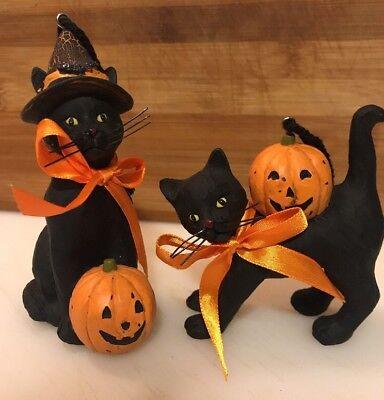 Bethany Lowe Halloween Black Cat Ornaments—set of 2