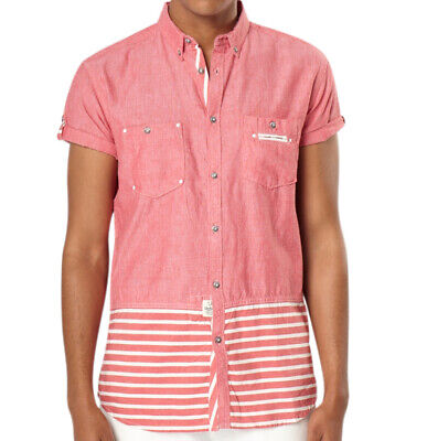 TFG Mens Lightweight Breathable Casual Woven Button Down Shirt | Coral | NEW