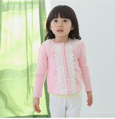 Kid Baby Girls Lace Cardigan Outerwear Toddler Children Clothes Coat Pink 110 US