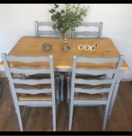 Shabby chic farmhouse table and chairs farrow and ball pine