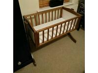 Baby swinging crib cot chestnut and white with mattress 0-8m