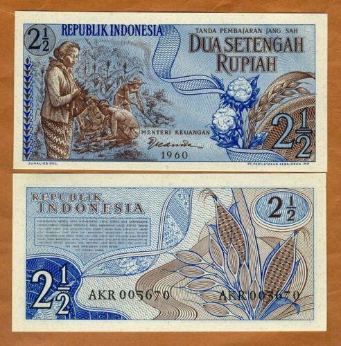 Indonesia, 2 1/2 Rupiah, 1960, P-77, UNC