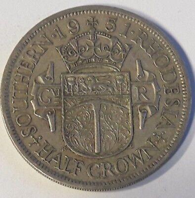 Southern Rhodesia George VI Half-Crown 1951 Extra Fine