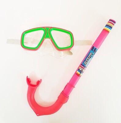 Set Sub Maschera + Boccaglio Colorato Bambini Bimbi Nuoto Mare Estate dfh