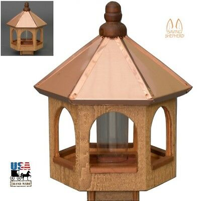 "20"" COPPER TOP BIRD FEEDER - Gazebo in Natural Cedar Finish Amish Handmade USA"
