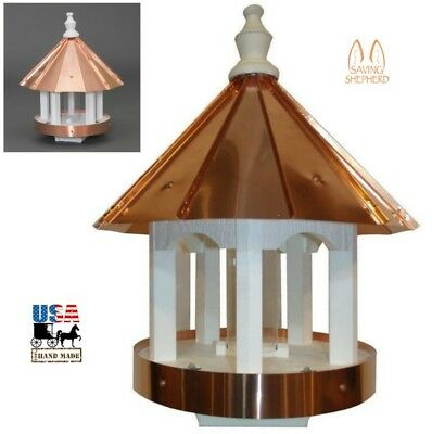 "24"" COPPER TOP BIRD FEEDER - Post Mount Ventilated Drains Amish Handmade in USA"