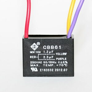 ceiling fan capacitor cbb61 1 2uf 2 3uf 3 wire ul listed. Black Bedroom Furniture Sets. Home Design Ideas