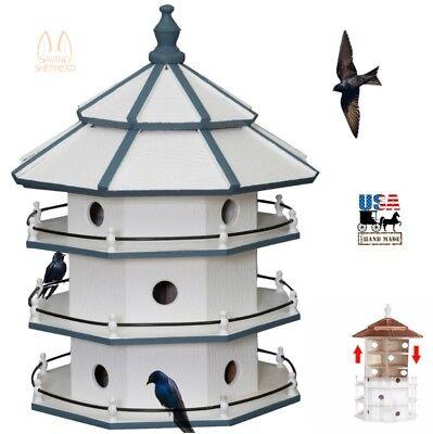 "3 Story PURPLE MARTIN BIRDHOUSE - 30"" Large 12 Room Bird House Condo Amish USA"