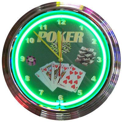 Neon Lighted Poker Royal Flush Neon Clock