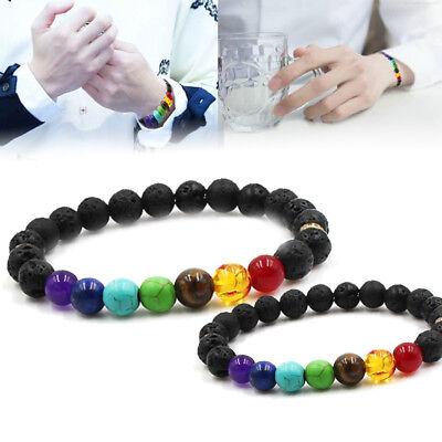 Unisex Essential Oil Diffuser Lava Stone Bracelets Aromatherapy 7 Chakra Healing