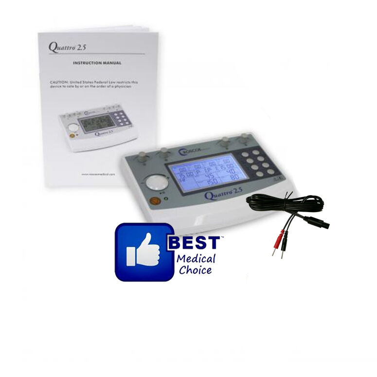 ROSCOE QUATTRO 2.5, 4 CHANNEL ELECTROTHERAPY MUSCLE STIMULATOR, 2 YEAR WARRANTY