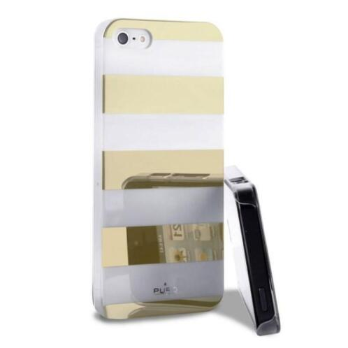 Puro Stripe Back Cover goud / wit iPhone 5 / 5S / SE