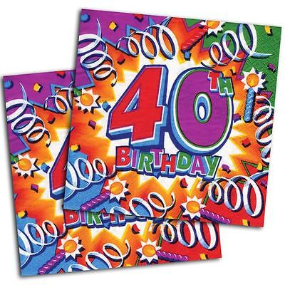 16 Celebration Explosion 40th Birthday Party Disposable 6.5in Paper - 40th Napkins