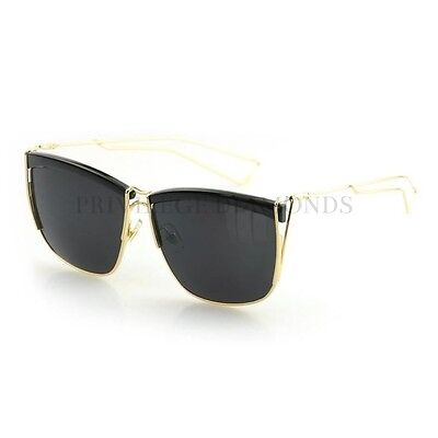 Square So Electric Gold Reflective Mirrored Lens Retro Designer Style Sunglasses Electric Gold Lens