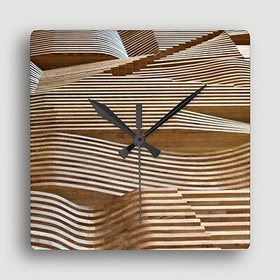 'RIDE THE WAVE' WALL CLOCK ~ Unique Contemporary Sculpted Wood Image Design